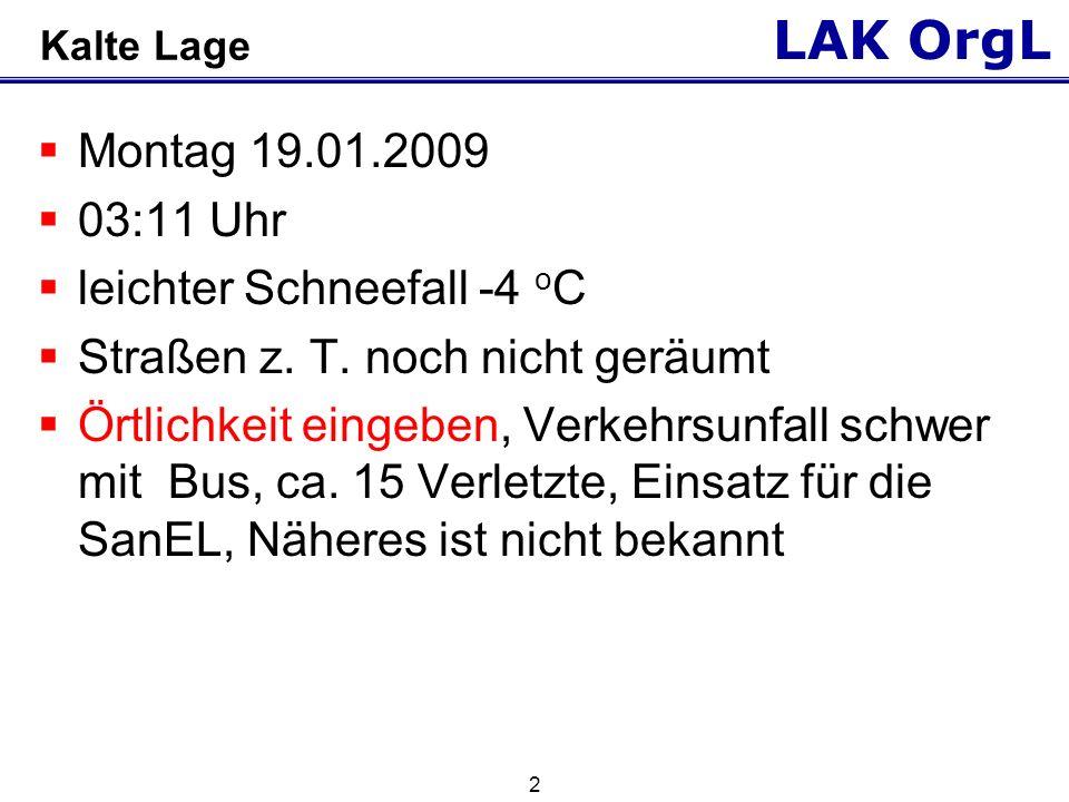 LAK OrgL 2 Kalte Lage Montag 19.01.2009 03:11 Uhr leichter Schneefall -4 o C Straßen z.