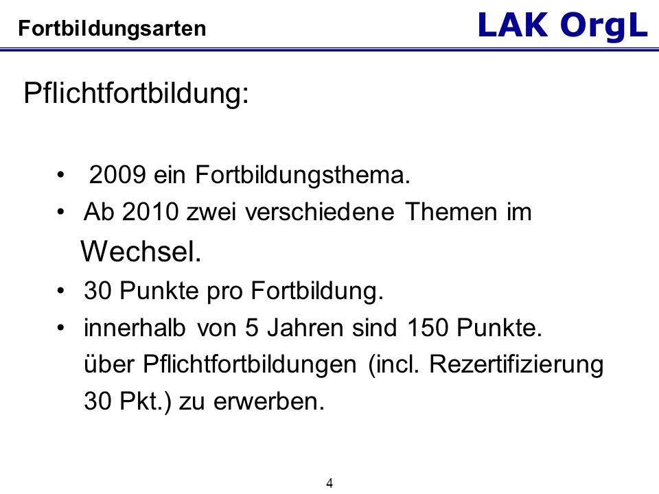 LAK OrgL 5 Fortbildungsarten Freie Fortbildungen: 100 Punkte sind über freie Fortbildungen zu erwerben.