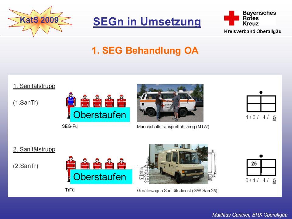 KatS 2009 Kreisverband Oberallgäu 1. SEG Behandlung OA SEGn in Umsetzung Matthias Gantner, BRK Oberallgäu Oberstaufen