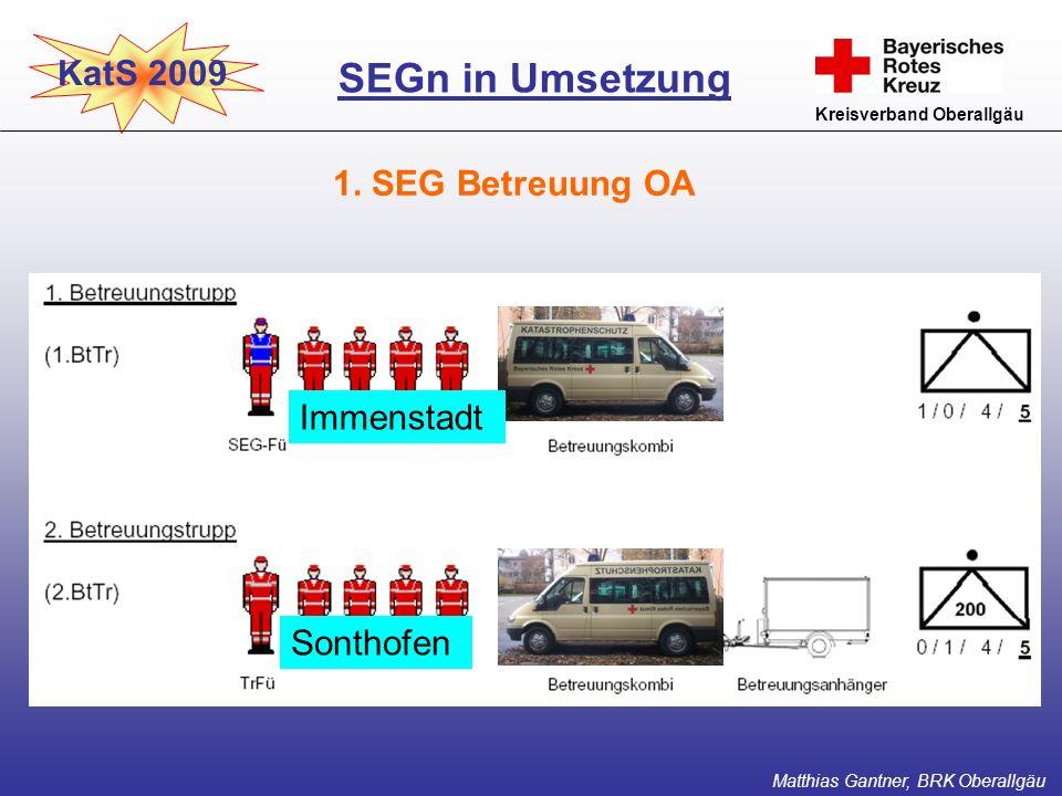 KatS 2009 Kreisverband Oberallgäu 1. SEG Betreuung OA SEGn in Umsetzung Matthias Gantner, BRK Oberallgäu Sonthofen Immenstadt