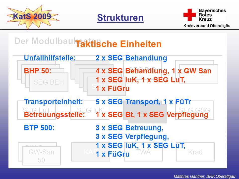 KatS 2009 Kreisverband Oberallgäu Taktische Einheiten Strukturen Matthias Gantner, BRK Oberallgäu Unfallhilfstelle:2 x SEG Behandlung BHP 50:4 x SEG B
