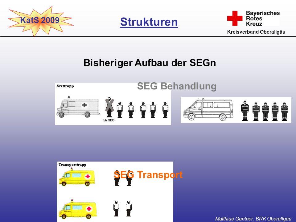 KatS 2009 Kreisverband Oberallgäu Bisheriger Aufbau der SEGn Strukturen Matthias Gantner, BRK Oberallgäu SEG Behandlung SEG Transport