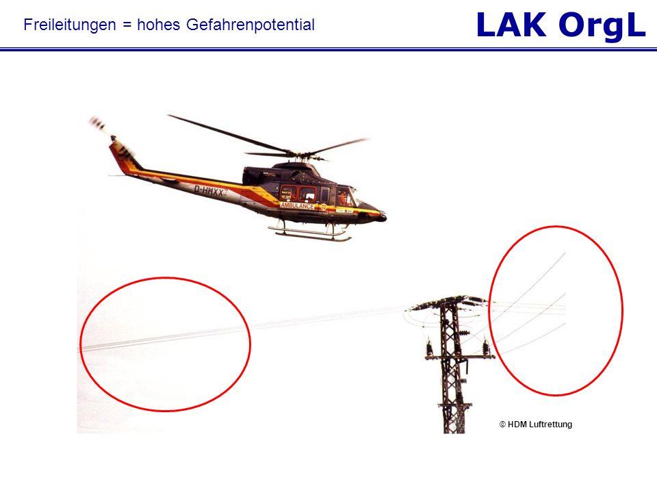 LAK OrgL Freileitungen = hohes Gefahrenpotential © HDM Luftrettung