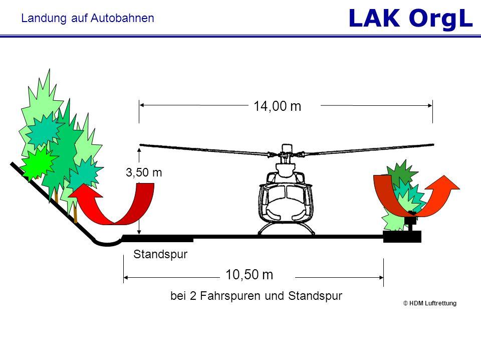LAK OrgL Landung auf Autobahnen bei 2 Fahrspuren und Standspur 14,00 m 3,50 m Standspur 10,50 m © HDM Luftrettung