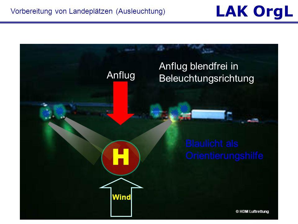 LAK OrgL Wind Anflug blendfrei in Beleuchtungsrichtung Anflug Blaulicht als Orientierungshilfe H © HDM Luftrettung Vorbereitung von Landeplätzen (Ausl