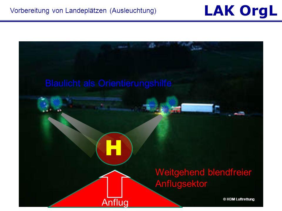 LAK OrgL Blaulicht als Orientierungshilfe H © HDM Luftrettung Weitgehend blendfreier Anflugsektor Anflug Vorbereitung von Landeplätzen (Ausleuchtung)