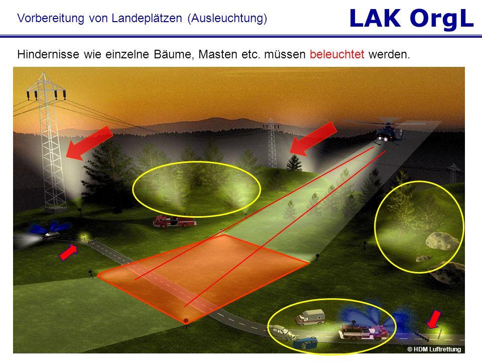 LAK OrgL © HDM Luftrettung Hindernisse wie einzelne Bäume, Masten etc. müssen beleuchtet werden. Vorbereitung von Landeplätzen (Ausleuchtung)