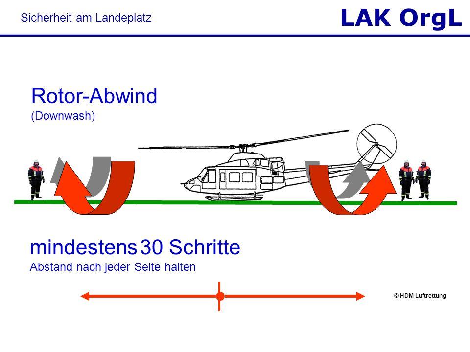 LAK OrgL mindestens 30 Schritte Abstand nach jeder Seite halten Rotor-Abwind (Downwash) Sicherheit am Landeplatz © HDM Luftrettung