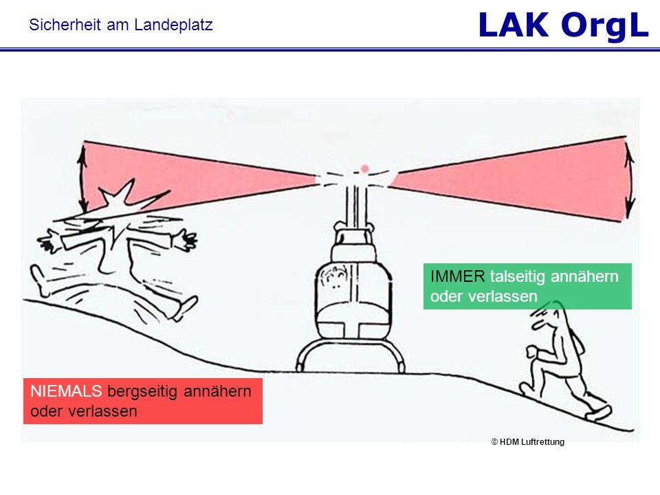 LAK OrgL NIEMALS bergseitig annähern oder verlassen IMMER talseitig annähern oder verlassen © HDM Luftrettung Sicherheit am Landeplatz