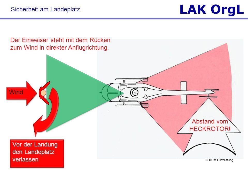 LAK OrgL Vor der Landung den Landeplatz verlassen Der Einweiser steht mit dem Rücken zum Wind in direkter Anflugrichtung. Wind Abstand vom HECKROTOR!