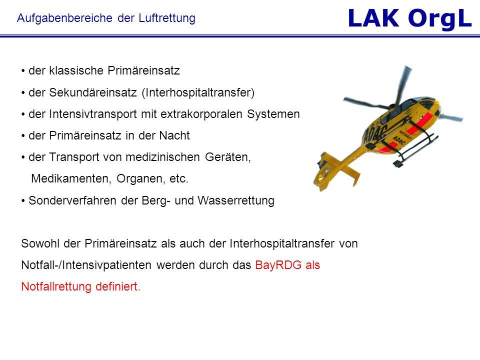 LAK OrgL der klassische Primäreinsatz der Sekundäreinsatz (Interhospitaltransfer) der Intensivtransport mit extrakorporalen Systemen der Primäreinsatz
