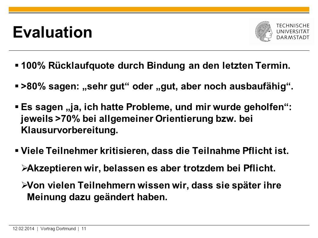 12.02.2014 | Vortrag Dortmund | 11 Evaluation 100% Rücklaufquote durch Bindung an den letzten Termin. >80% sagen: sehr gut oder gut, aber noch ausbauf