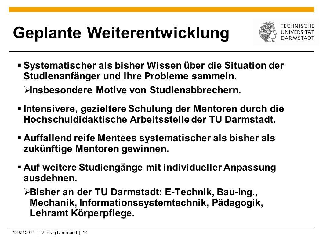 12.02.2014 | Vortrag Dortmund | 14 Geplante Weiterentwicklung Systematischer als bisher Wissen über die Situation der Studienanfänger und ihre Problem