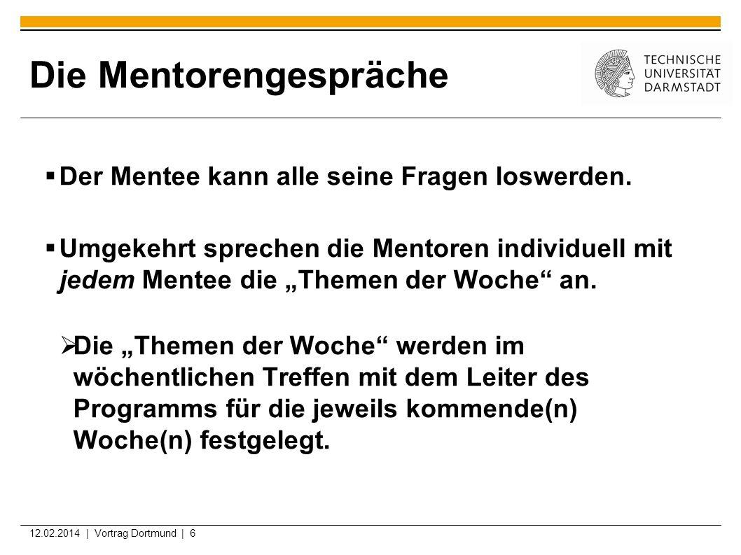 12.02.2014 | Vortrag Dortmund | 7 Themen der Woche Am Anfang: eher allgemeine Orientierung Studienorganisation, Vereinbarkeit Studium vs.