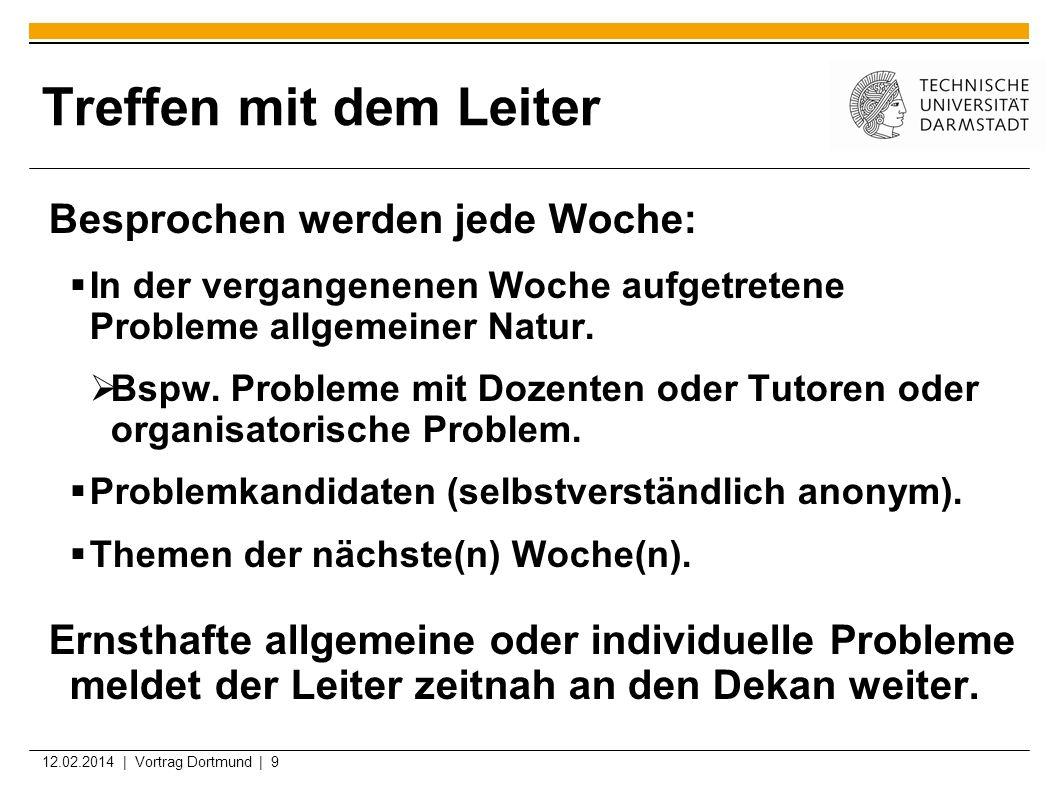 12.02.2014 | Vortrag Dortmund | 9 Treffen mit dem Leiter Besprochen werden jede Woche: In der vergangenenen Woche aufgetretene Probleme allgemeiner Na