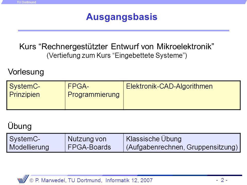 - 2 - P. Marwedel, TU Dortmund, Informatik 12, 2007 TU Dortmund Ausgangsbasis Kurs Rechnergestützter Entwurf von Mikroelektronik (Vertiefung zum Kurs