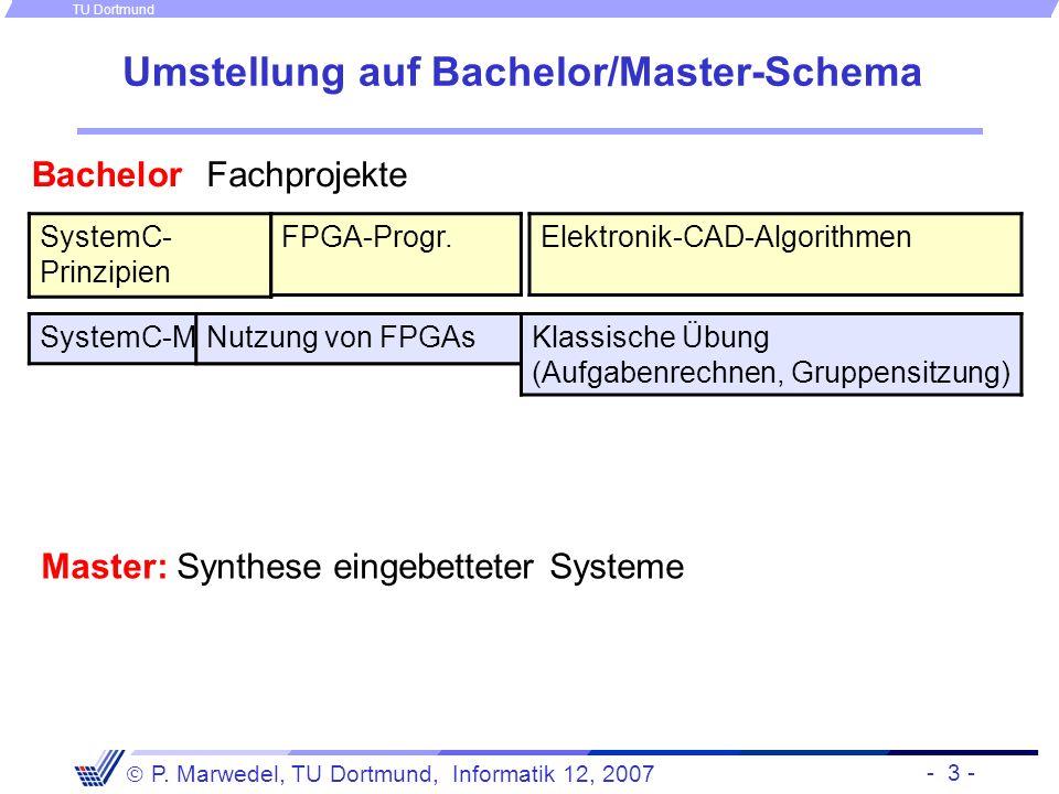- 3 - P. Marwedel, TU Dortmund, Informatik 12, 2007 TU Dortmund Umstellung auf Bachelor/Master-Schema SystemC- Prinzipien Elektronik-CAD-Algorithmen F