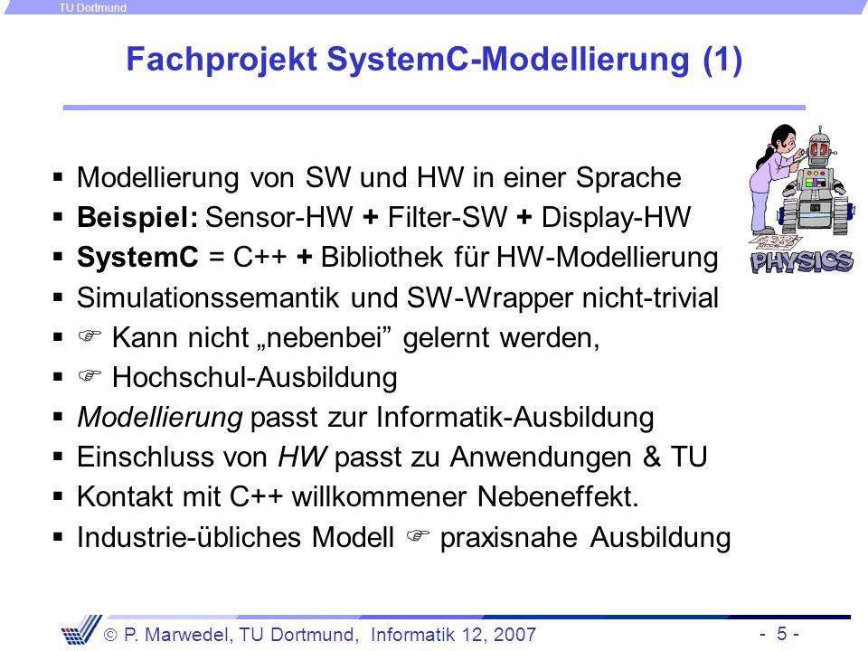 - 5 - P. Marwedel, TU Dortmund, Informatik 12, 2007 TU Dortmund Fachprojekt SystemC-Modellierung (1) Modellierung von SW und HW in einer Sprache Beisp