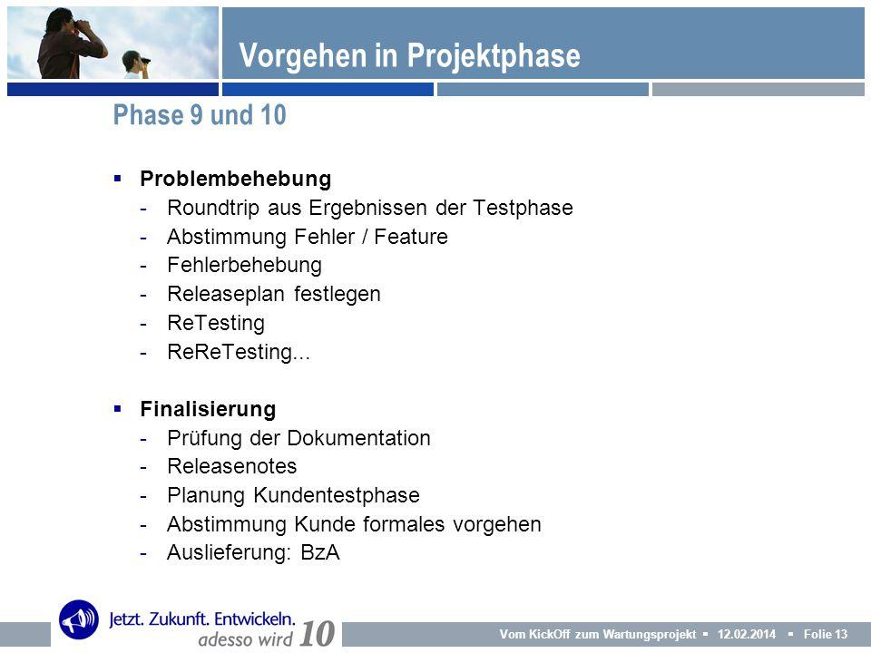 Vom KickOff zum Wartungsprojekt 12.02.2014 Folie 13 Problembehebung -Roundtrip aus Ergebnissen der Testphase -Abstimmung Fehler / Feature -Fehlerbeheb