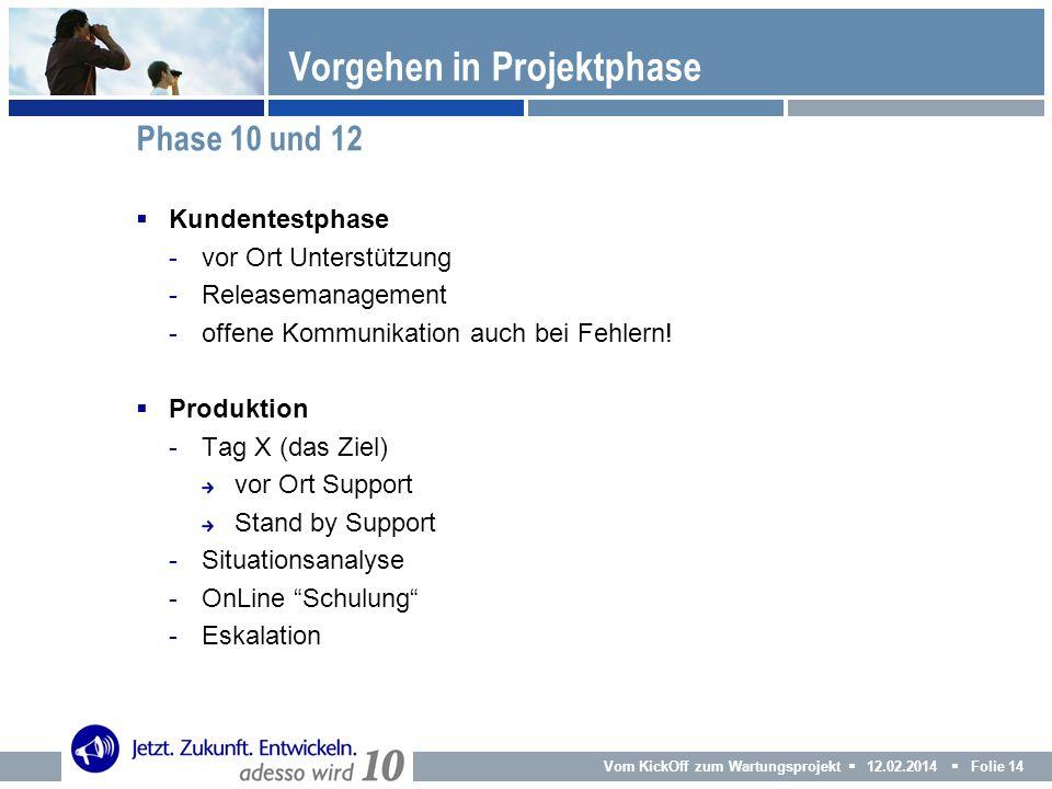 Vom KickOff zum Wartungsprojekt 12.02.2014 Folie 14 Kundentestphase -vor Ort Unterstützung -Releasemanagement -offene Kommunikation auch bei Fehlern!
