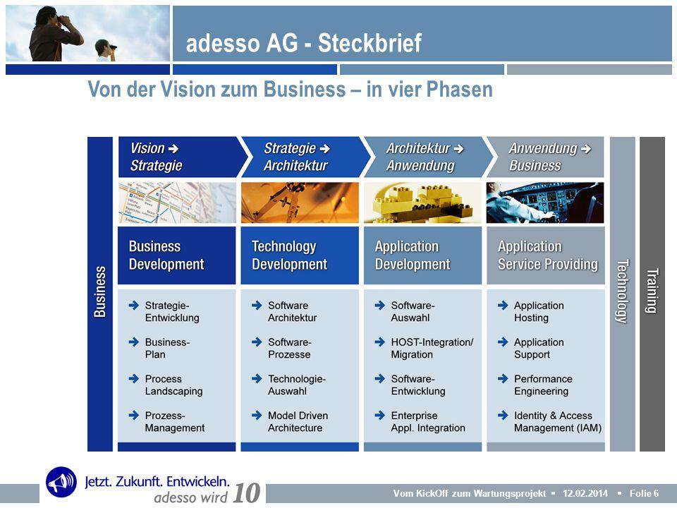 Vom KickOff zum Wartungsprojekt 12.02.2014 Folie 6 adesso AG - Steckbrief Von der Vision zum Business – in vier Phasen