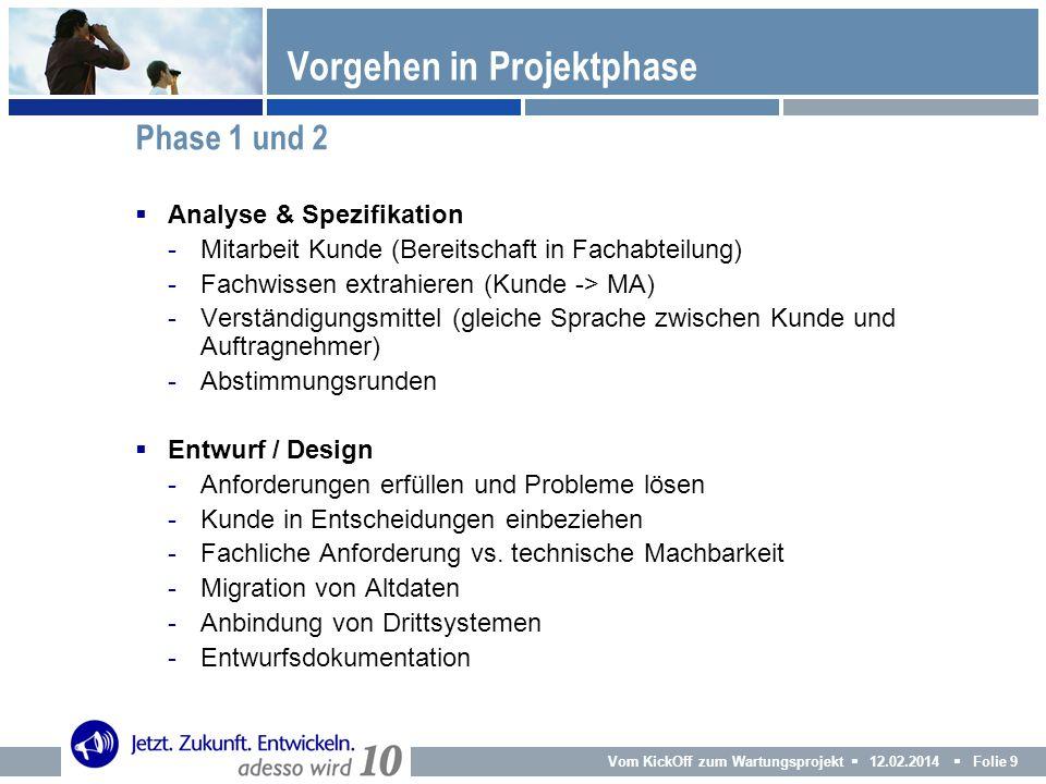 Vom KickOff zum Wartungsprojekt 12.02.2014 Folie 9 Analyse & Spezifikation -Mitarbeit Kunde (Bereitschaft in Fachabteilung) -Fachwissen extrahieren (K