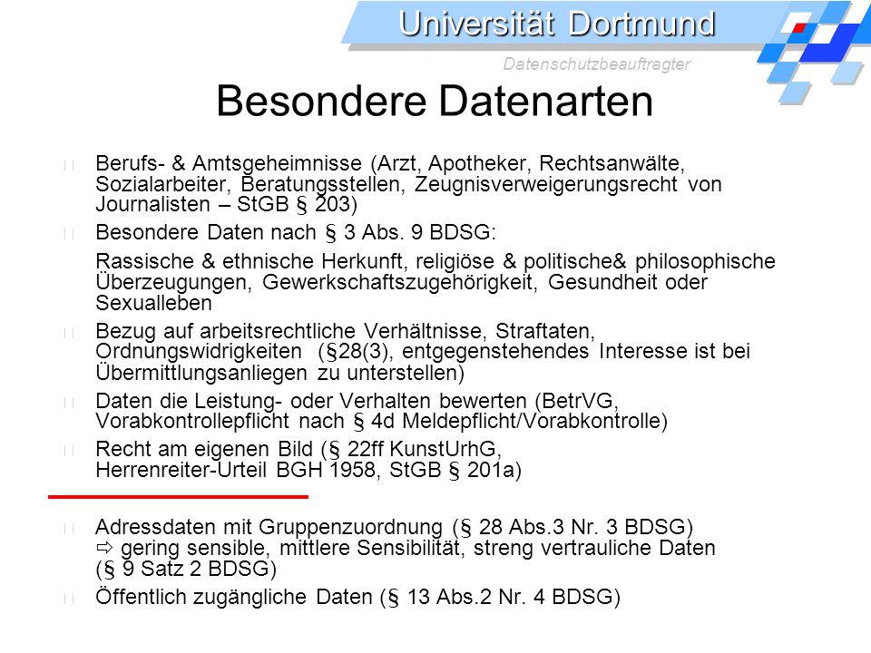 Universität Dortmund Datenschutzbeauftragter Besondere Datenarten Berufs- & Amtsgeheimnisse (Arzt, Apotheker, Rechtsanwälte, Sozialarbeiter, Beratungsstellen, Zeugnisverweigerungsrecht von Journalisten – StGB § 203) Besondere Daten nach § 3 Abs.