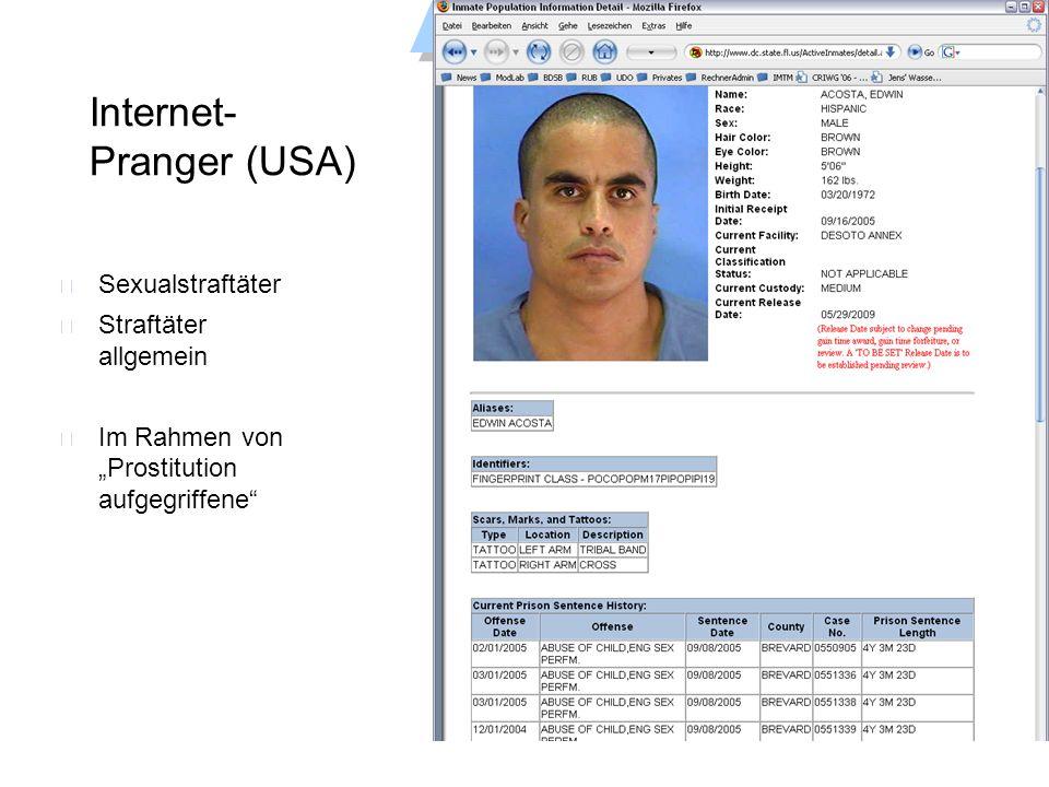 Universität Dortmund Datenschutzbeauftragter Internet- Pranger (USA) Sexualstraftäter Straftäter allgemein Im Rahmen von Prostitution aufgegriffene