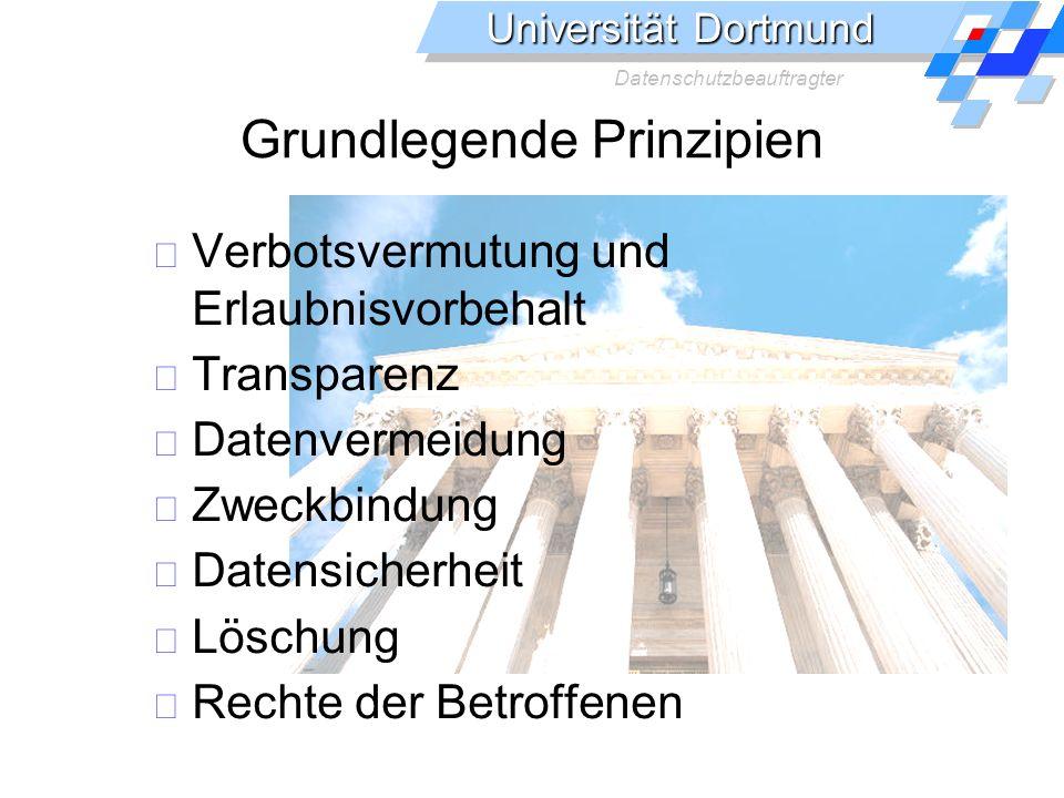 Universität Dortmund Datenschutzbeauftragter Grundlegende Prinzipien Verbotsvermutung und Erlaubnisvorbehalt Transparenz Datenvermeidung Zweckbindung Datensicherheit Löschung Rechte der Betroffenen