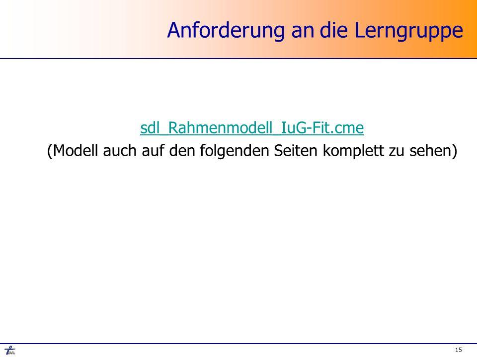 Anforderung an die Lerngruppe sdl_Rahmenmodell_IuG-Fit.cme (Modell auch auf den folgenden Seiten komplett zu sehen) 15