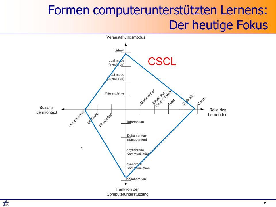 27 Übergreifendes Problem beim CSCL Kernproblem: Ko-Konstruktion von Wissen Kernproblem: Ko-Konstruktion von Wissen