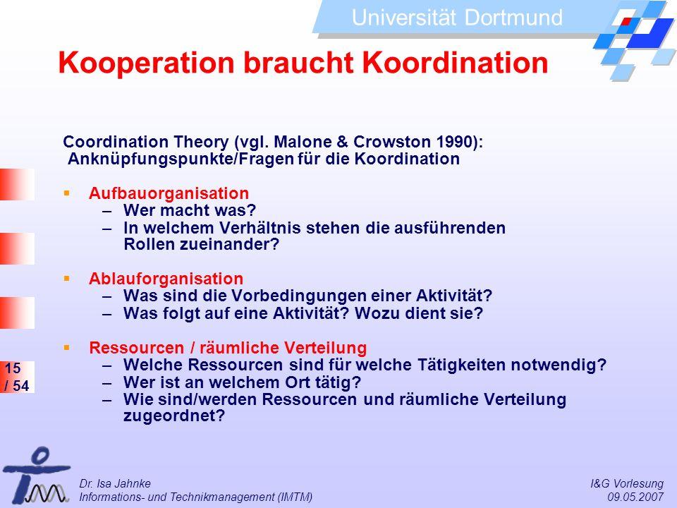 15 / 54 Universität Dortmund Dr. Isa Jahnke I&G Vorlesung Informations- und Technikmanagement (IMTM) 09.05.2007 Kooperation braucht Koordination Coord