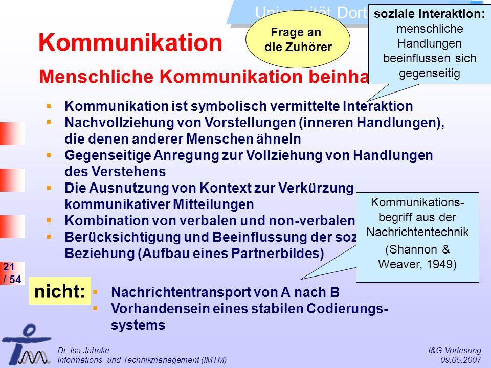 21 / 54 Universität Dortmund Dr. Isa Jahnke I&G Vorlesung Informations- und Technikmanagement (IMTM) 09.05.2007 Menschliche Kommunikation beinhaltet: