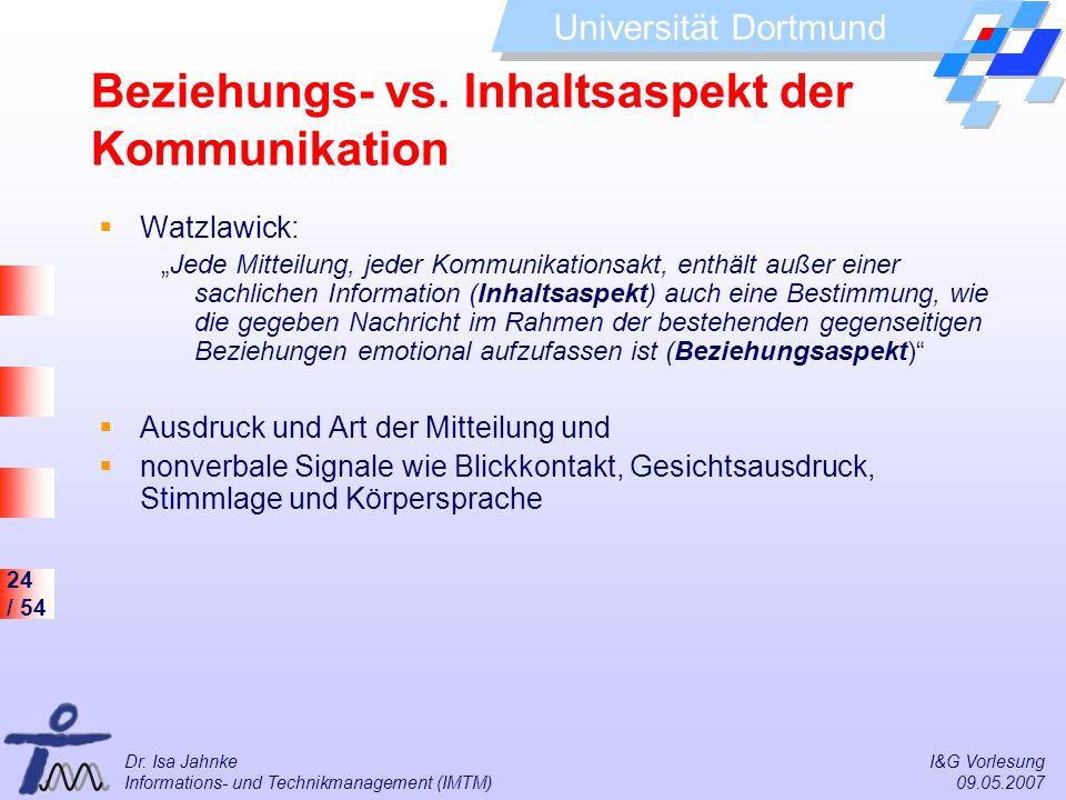 24 / 54 Universität Dortmund Dr. Isa Jahnke I&G Vorlesung Informations- und Technikmanagement (IMTM) 09.05.2007 Beziehungs- vs. Inhaltsaspekt der Komm