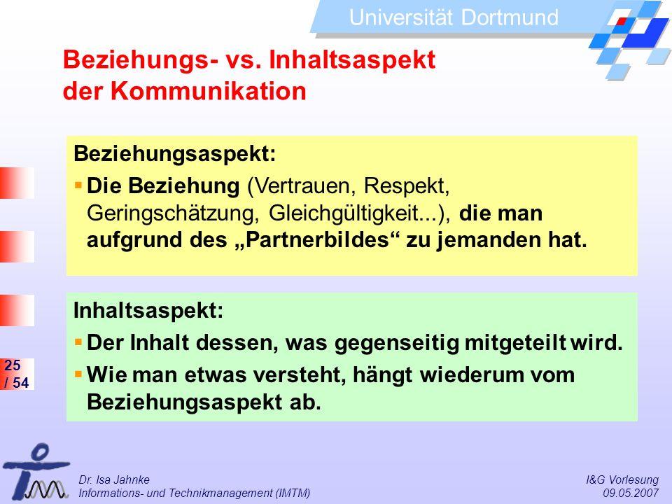 25 / 54 Universität Dortmund Dr. Isa Jahnke I&G Vorlesung Informations- und Technikmanagement (IMTM) 09.05.2007 Beziehungs- vs. Inhaltsaspekt der Komm