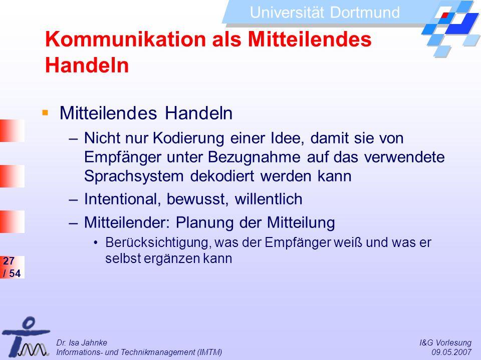 27 / 54 Universität Dortmund Dr. Isa Jahnke I&G Vorlesung Informations- und Technikmanagement (IMTM) 09.05.2007 Kommunikation als Mitteilendes Handeln