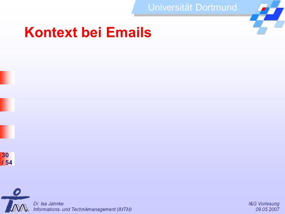 30 / 54 Universität Dortmund Dr. Isa Jahnke I&G Vorlesung Informations- und Technikmanagement (IMTM) 09.05.2007 Kontext bei Emails