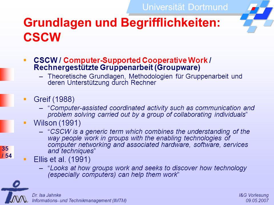 35 / 54 Universität Dortmund Dr. Isa Jahnke I&G Vorlesung Informations- und Technikmanagement (IMTM) 09.05.2007 Grundlagen und Begrifflichkeiten: CSCW