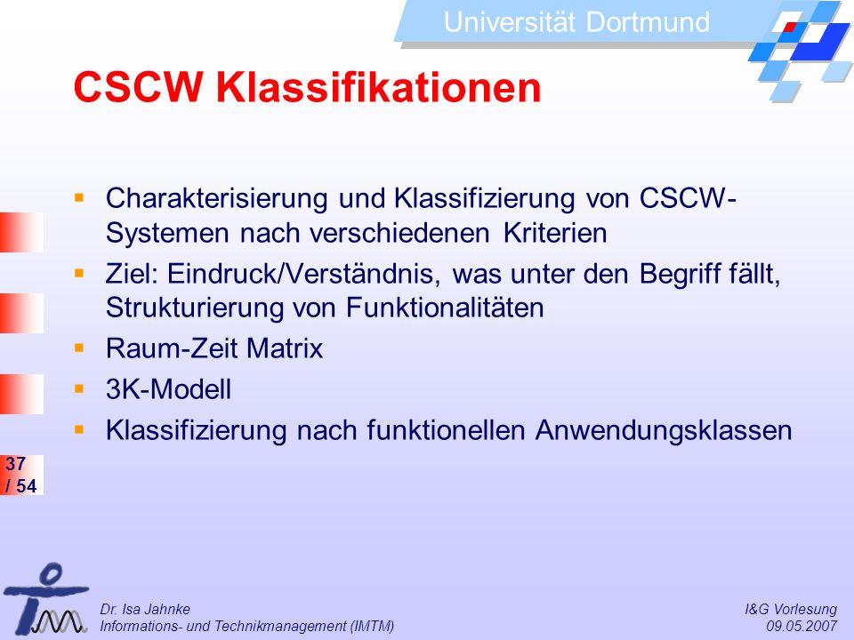 37 / 54 Universität Dortmund Dr. Isa Jahnke I&G Vorlesung Informations- und Technikmanagement (IMTM) 09.05.2007 CSCW Klassifikationen Charakterisierun