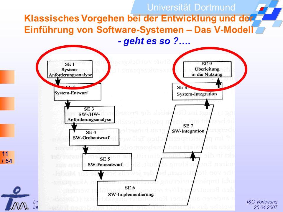 11 / 54 Universität Dortmund Dr. Isa Jahnke I&G Vorlesung Informations- und Technikmanagement (IMTM) 25.04.2007 Klassisches Vorgehen bei der Entwicklu