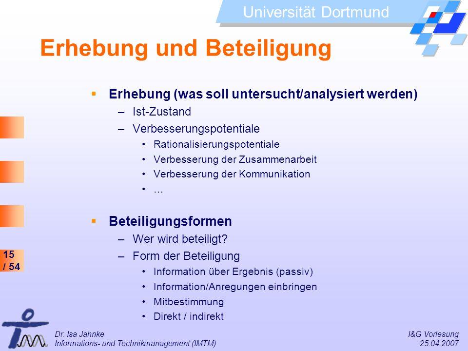 15 / 54 Universität Dortmund Dr. Isa Jahnke I&G Vorlesung Informations- und Technikmanagement (IMTM) 25.04.2007 Erhebung und Beteiligung Erhebung (was