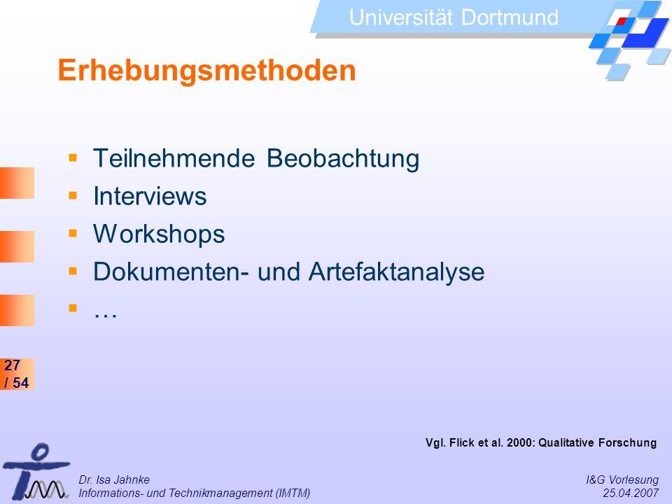 27 / 54 Universität Dortmund Dr. Isa Jahnke I&G Vorlesung Informations- und Technikmanagement (IMTM) 25.04.2007 Erhebungsmethoden Teilnehmende Beobach