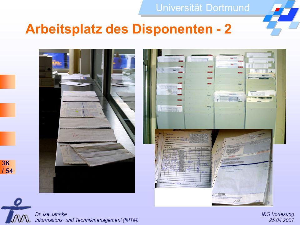 36 / 54 Universität Dortmund Dr. Isa Jahnke I&G Vorlesung Informations- und Technikmanagement (IMTM) 25.04.2007 Arbeitsplatz des Disponenten - 2
