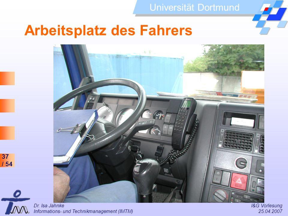37 / 54 Universität Dortmund Dr. Isa Jahnke I&G Vorlesung Informations- und Technikmanagement (IMTM) 25.04.2007 Arbeitsplatz des Fahrers