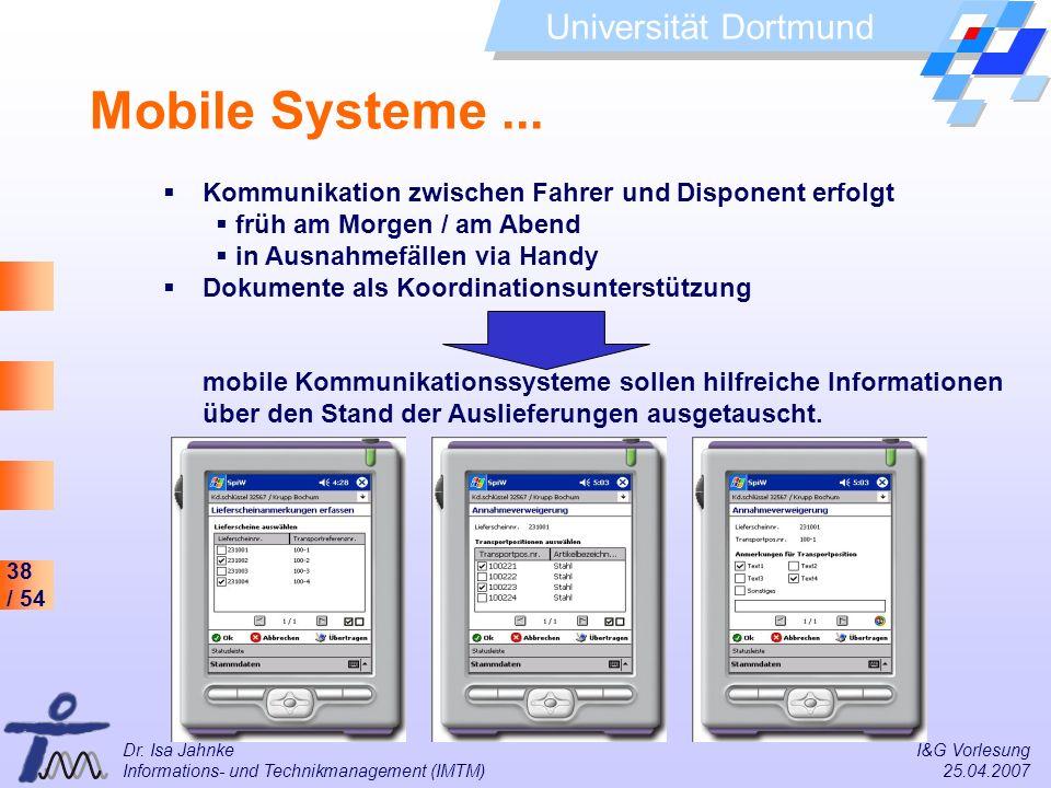 38 / 54 Universität Dortmund Dr. Isa Jahnke I&G Vorlesung Informations- und Technikmanagement (IMTM) 25.04.2007 Mobile Systeme... Kommunikation zwisch