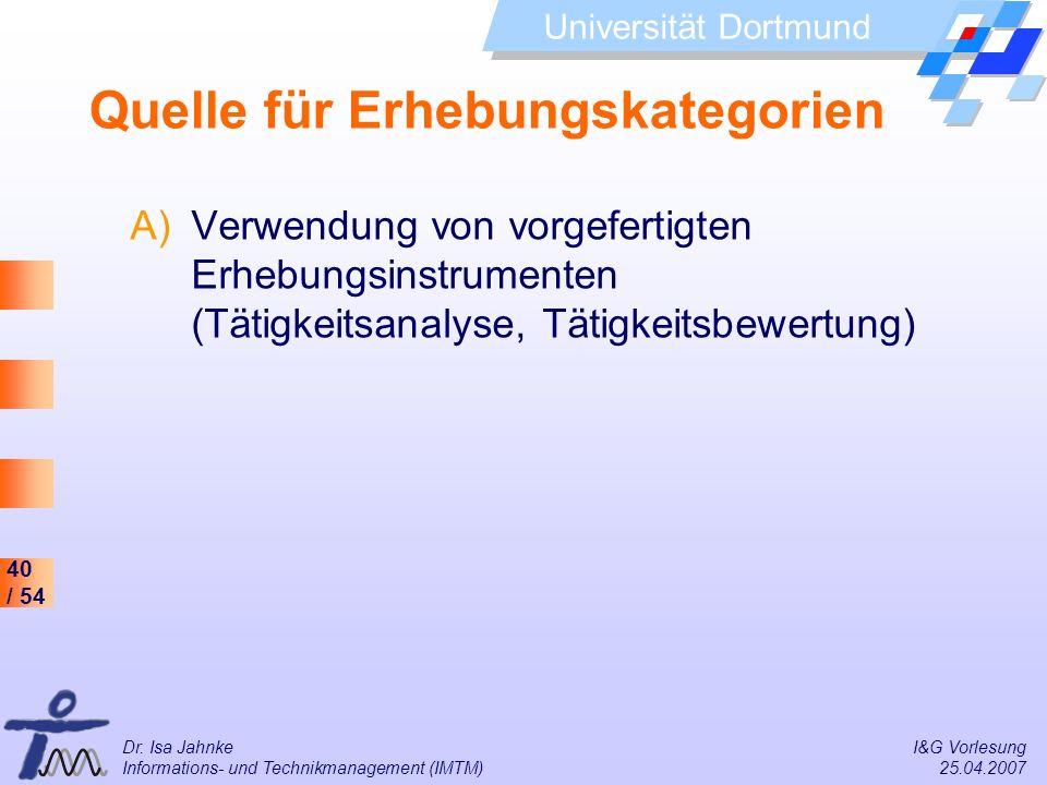 40 / 54 Universität Dortmund Dr. Isa Jahnke I&G Vorlesung Informations- und Technikmanagement (IMTM) 25.04.2007 Quelle für Erhebungskategorien A)Verwe