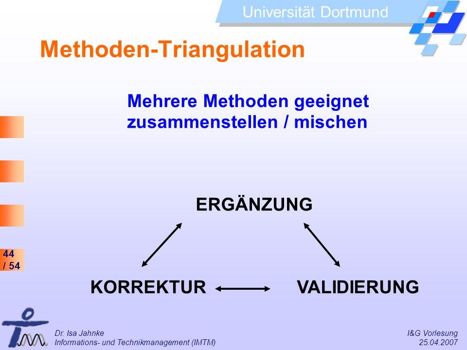 44 / 54 Universität Dortmund Dr. Isa Jahnke I&G Vorlesung Informations- und Technikmanagement (IMTM) 25.04.2007 Methoden-Triangulation Mehrere Methode