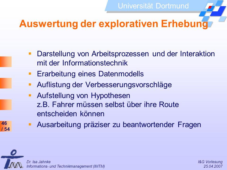 46 / 54 Universität Dortmund Dr. Isa Jahnke I&G Vorlesung Informations- und Technikmanagement (IMTM) 25.04.2007 Auswertung der explorativen Erhebung D