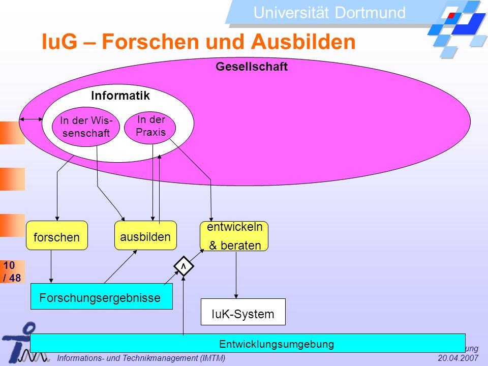 10 / 48 Universität Dortmund Dr. Isa Jahnke I&G Vorlesung Informations- und Technikmanagement (IMTM) 20.04.2007 Gesellschaft Informatik IuG – Forschen