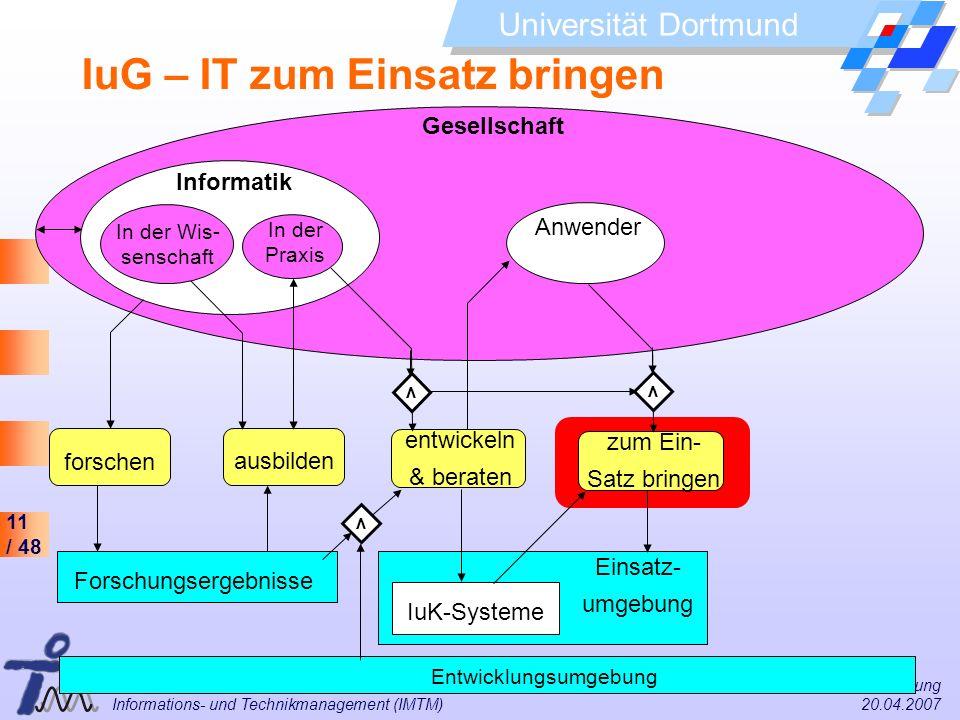 11 / 48 Universität Dortmund Dr. Isa Jahnke I&G Vorlesung Informations- und Technikmanagement (IMTM) 20.04.2007 Einsatz- umgebung Gesellschaft Informa